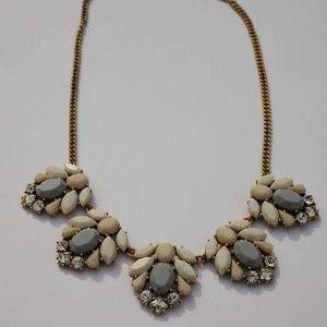 J Crew Factory Blue Cream White Bauble Necklace